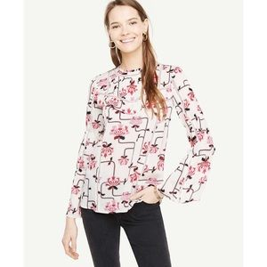 Ann Taylor | Weekend Floral Flare Sleeve Blouse